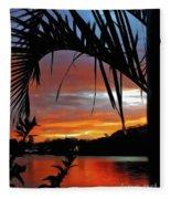 Palm Framed Sunset Fleece Blanket