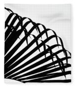 Palm Frond Black And White Fleece Blanket
