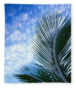 Palm Fronds And Clouds Fleece Blanket