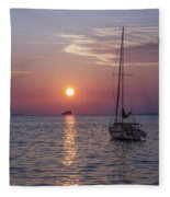 Palm Harbor Florida At Sunset Fleece Blanket