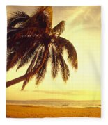 Palm Over The Beach Fleece Blanket