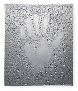 Palm Print On Wet Metal Surface Fleece Blanket
