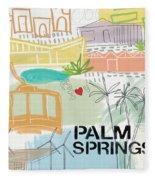 Palm Springs Cityscape- Art By Linda Woods Fleece Blanket by Linda Woods