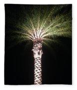 Palm Tree At Night Fleece Blanket