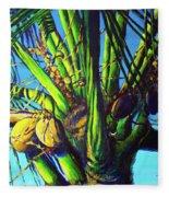 Palm Tree At Sunset Fleece Blanket