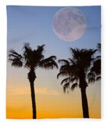 Palm Tree Full Moon Sunset Fleece Blanket