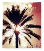 Palm Tree In The Sun Fleece Blanket