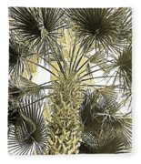Palm Tree Pen And Ink Grayscale With Sepia Tones Fleece Blanket