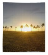 Palm Tree Sunset Fleece Blanket