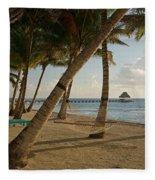 Palm Trees And Hammock On San Pedro Fleece Blanket