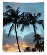 Palm Trees At Sunset Fleece Blanket