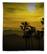 Palm Trees At Sunset With Mountains In California Fleece Blanket