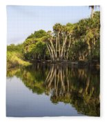 Palm Trees Reflections Fleece Blanket