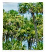 Palmetto Palm Trees In Sub Tropical Climate Of Usa Fleece Blanket
