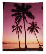 Palms Against Pink Sunset Fleece Blanket