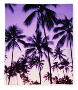 Palms And Purple Sky Fleece Blanket
