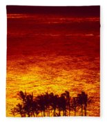 Palms And Reflections Fleece Blanket