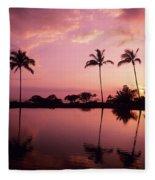 Palms At Still Lagoon Fleece Blanket
