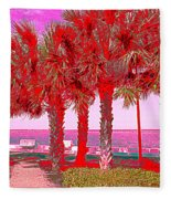 Palms In Red Fleece Blanket