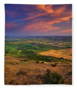 Palouse Skies Ablaze Fleece Blanket