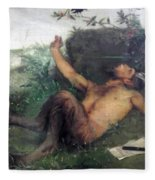 Pan Whistling At A Blackbird 1863 Fleece Blanket