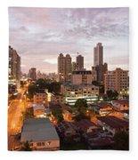 Panama City At Night Fleece Blanket