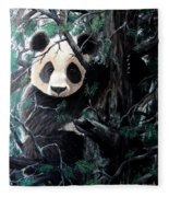 Panda In Tree Fleece Blanket