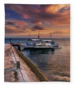 Pandanon Island Sunset Fleece Blanket