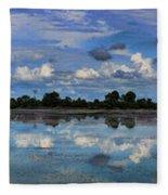 Pano Cambodia Lake  Fleece Blanket