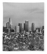 Pano Los Angeles City Black White Fleece Blanket
