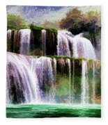 Panorama Ban Gioc Fall Vietnam  Fleece Blanket
