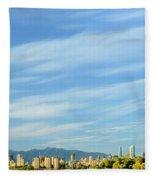 Blue Sky Over Vancouver City Skyline. Fleece Blanket