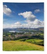 Panorama Of Keswick And Lake Derwent Water Panorama From Latrigg Fleece Blanket