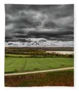 Panorama Of Wakefield's Fields Fleece Blanket