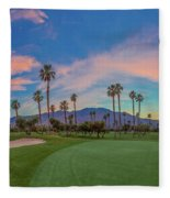 Panorama Palm Springs Golfing Fleece Blanket