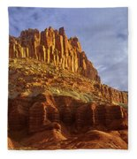 Panorama The Castle On A Cloudy Morning Capitol Reef National Park Fleece Blanket