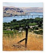 Panoramic Columbia River  Fleece Blanket