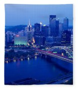 Panoramic Evening View Of Pittsburgh Fleece Blanket