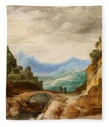 Panoramic Landscape With Travellers Fleece Blanket
