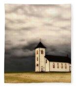 Panoramic Lightning Storm And Prairie Church Fleece Blanket