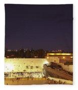 Panoramic Night View Of The Wailing Wall  Fleece Blanket