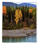 Panoramic Northern River Fleece Blanket
