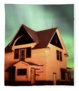 Panoramic Prairie Northern Lights And House Fleece Blanket