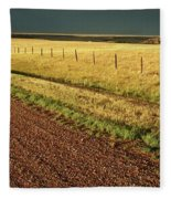 Panoramic Prairie Storm Canada At Sunset Fleece Blanket