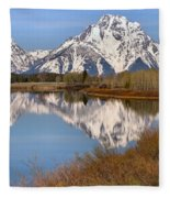 Panoramic Reflections At Oxbow Fleece Blanket