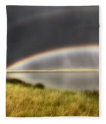 Panoramic Storm In The Marshes Fleece Blanket
