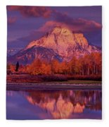 Panoramic Sunrise Oxbow Bend Grand Tetons National Park Fleece Blanket