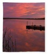 Panoramic Sunset Northern Lake Fleece Blanket