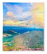 Panoramic Sunset On Mount Evans Fleece Blanket