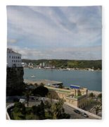 panoramic town 1  - Panorama of Mahon Menorca with old town and harbour Fleece Blanket